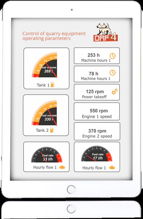 Quarry equipment controled parameters