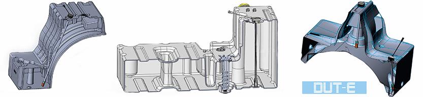 DUT-E sensor de volumen de combustible para un tanque complicado