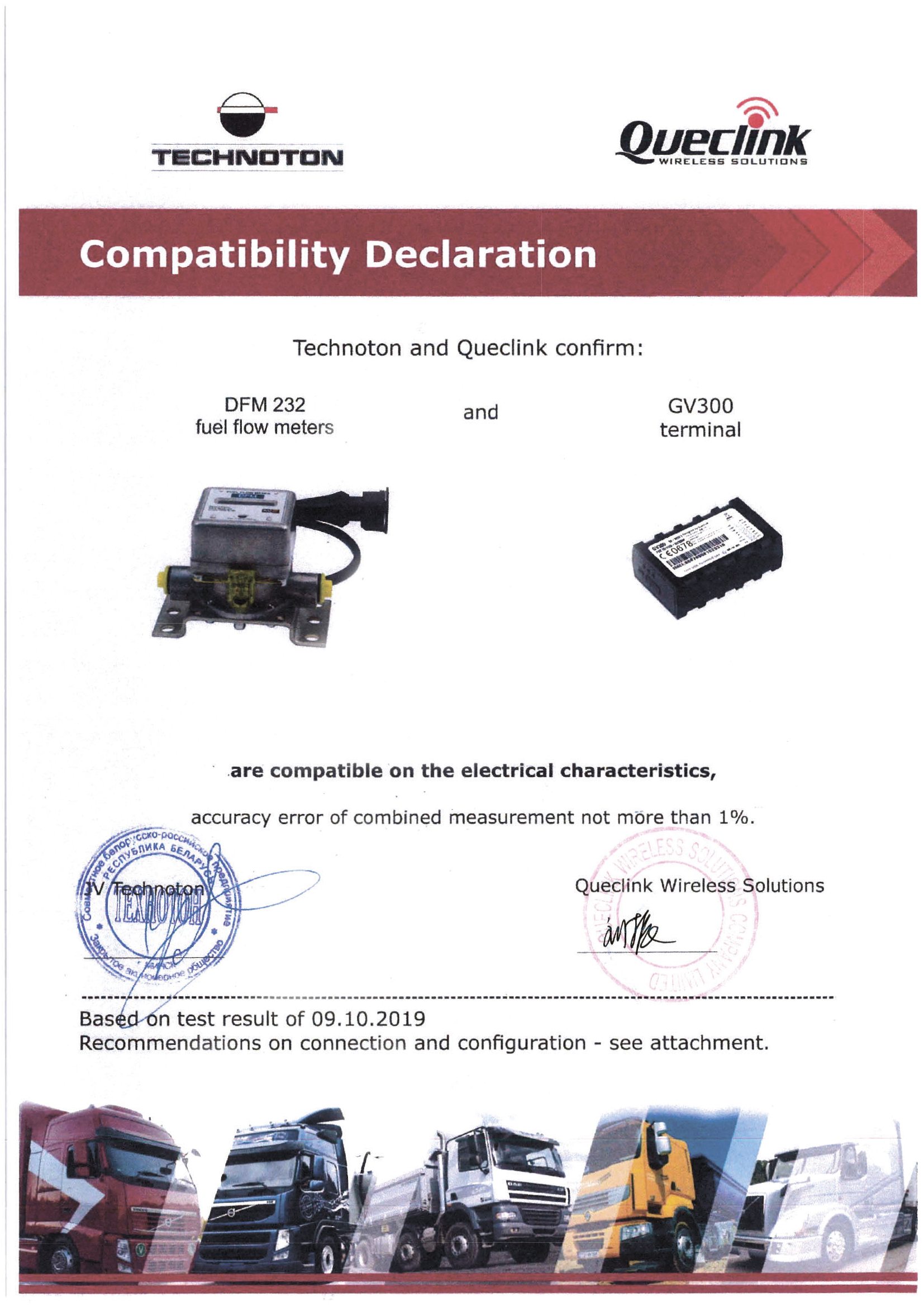 Compatibility Declaration of Technoton DFM 232 and Queclink GV300 tracker
