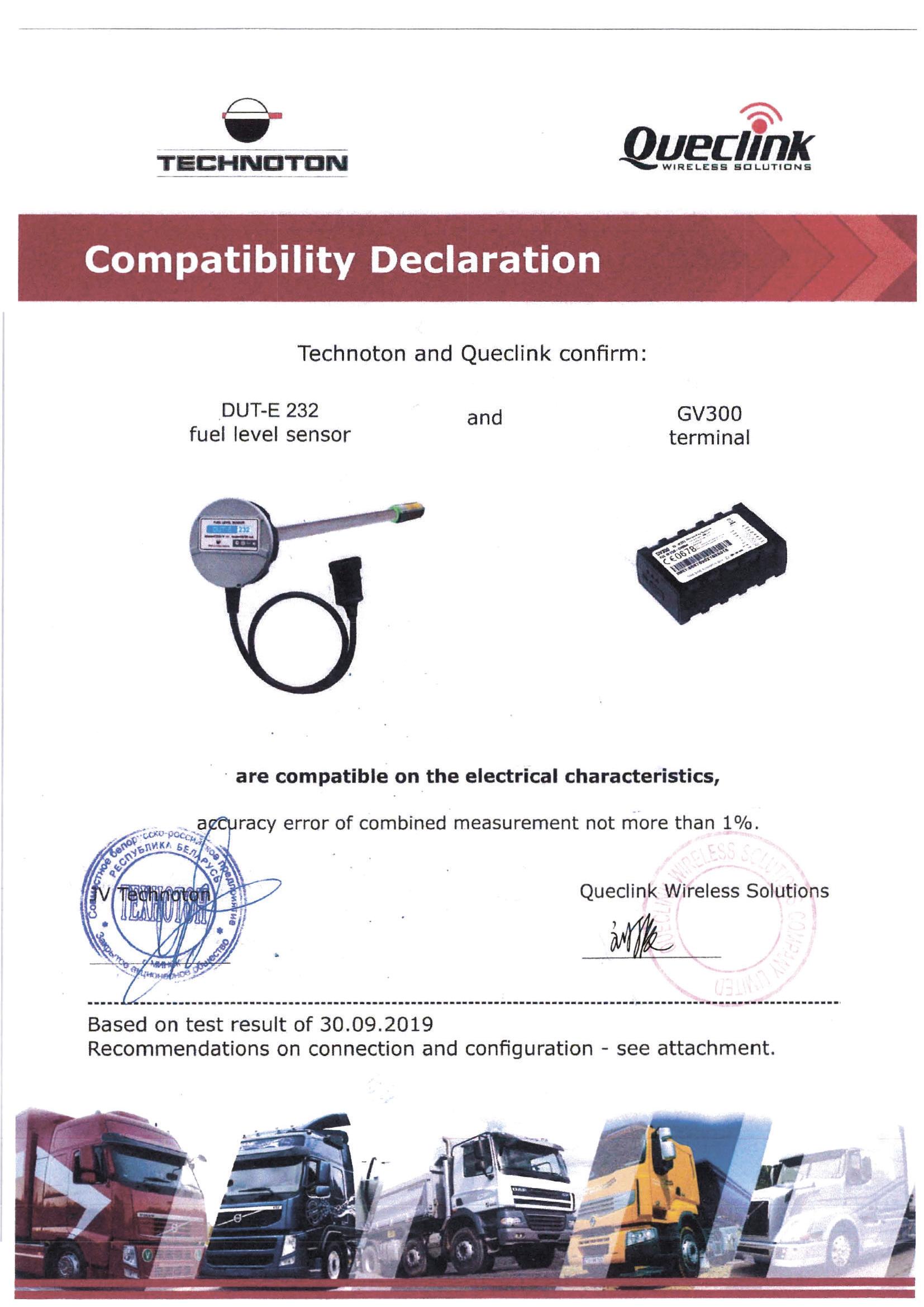 Compatibility Declaration of Technoton DUT-E 232 and Queclink GV300 tracker