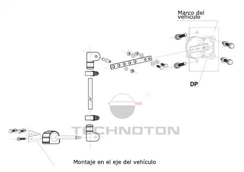 Diagrama de instalación en el vehículo de dos ejes