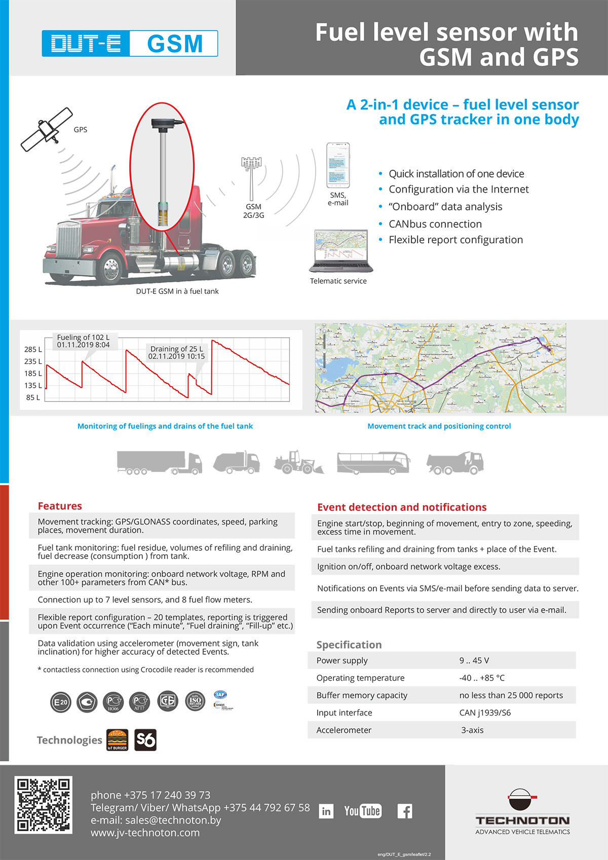 Fuel level sensor with in-built GPS and GSM